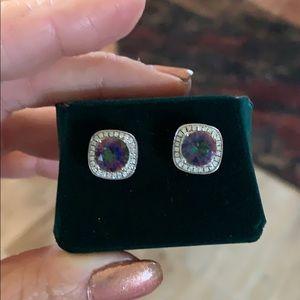 Beautiful sterling silver earrings . Real diamonds